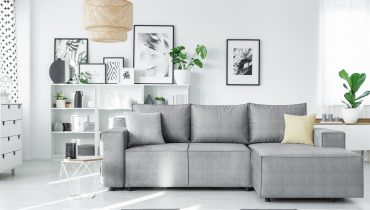 Modern studio interior with a grey corner couch, white shelves and art gallery